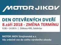 Změna termínu dne otevřených dveří v MOTORU JIKOV Strojírenská a.s. v Soběslavi